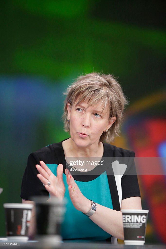 Maria Luis Albuquerque, Portugal's finance minister, gestures as she speaks during a Bloomberg Television interview in London, U.K., on Tuesday, May 5, 2015. With Greek officials fanning out across the continent to plead their case, Albuquerque warned that the currency bloc wont make contingency plans to prepare for a possible breakdown in talks and encouraged Greek Prime Minister Alexis Tsipras to take the offer on the table. Photographer: Matthew Lloyd/Bloomberg via Getty Images