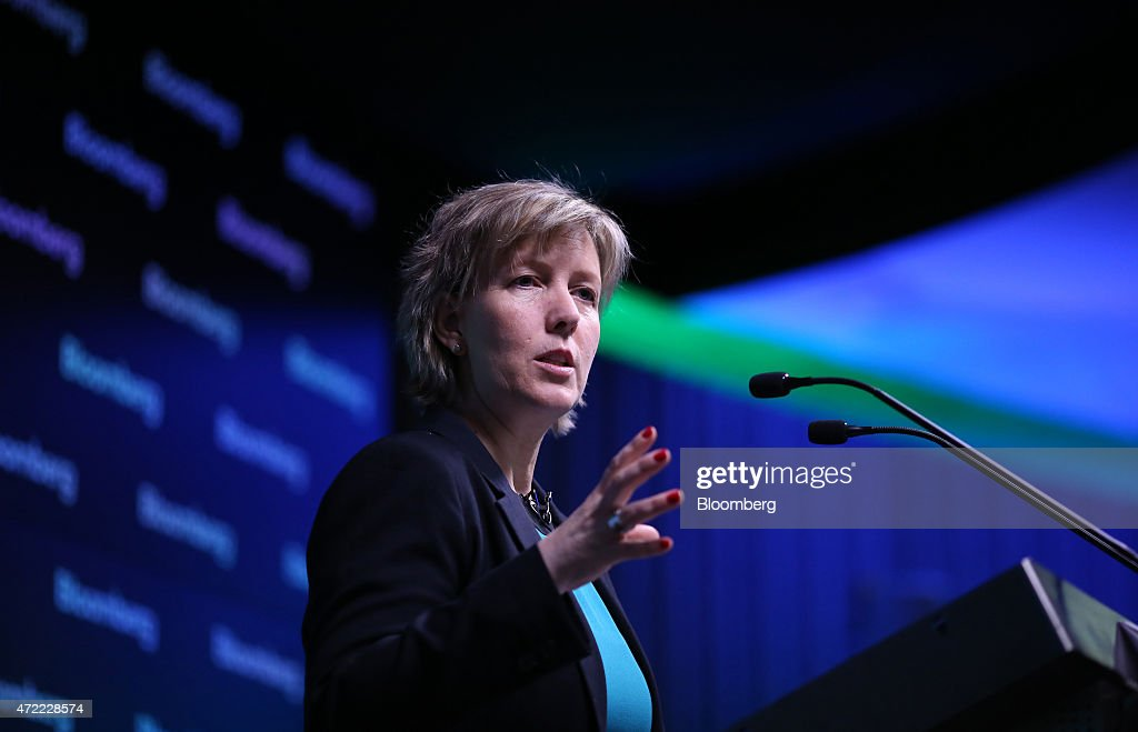 Maria Luis Albuquerque, Portugal's finance minister, gestures as she speaks at a conference at Bloomberg LP's European headquarters in London, U.K., on Tuesday, May 5, 2015. With Greek officials fanning out across the continent to plead their case, Albuquerque warned that the currency bloc wont make contingency plans to prepare for a possible breakdown in talks and encouraged Greek Prime Minister Alexis Tsipras to take the offer on the table. Photographer: Chris Ratcliffe/Bloomberg via Getty Images