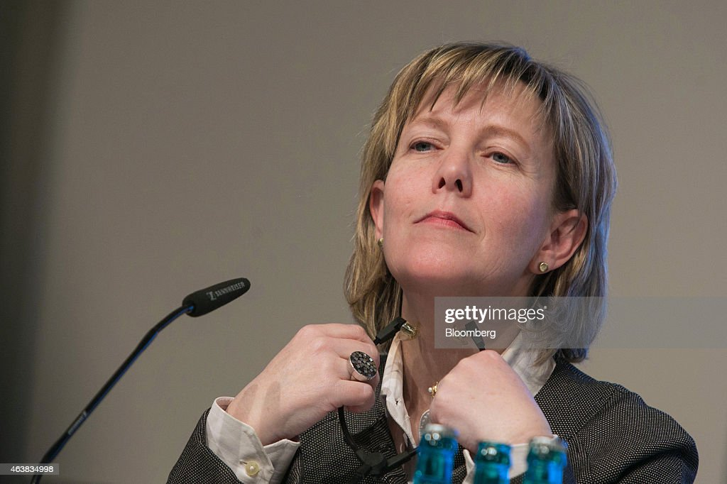 Maria Luis Albuquerque, Portugal's finance minister, listens during a conference on strengthening Europe's economy at the Bertelsmann Foundation in Berlin, Germany, on Wednesday, Feb. 18, 2015. Greece will submit its request for a six-month loan extension to the euro-area Thursday, a day later than originally planned, according to a government official. Photographer: Krisztian Bocsi/Bloomberg via Getty Images