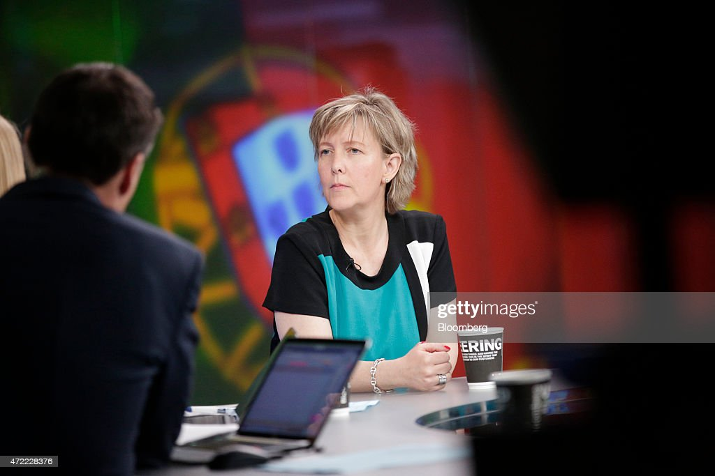 Maria Luis Albuquerque, Portugal's finance minister, pauses during a Bloomberg Television interview in London, U.K., on Tuesday, May 5, 2015. With Greek officials fanning out across the continent to plead their case, Albuquerque warned that the currency bloc wont make contingency plans to prepare for a possible breakdown in talks and encouraged Greek Prime Minister Alexis Tsipras to take the offer on the table. Photographer: Matthew Lloyd/Bloomberg via Getty Images