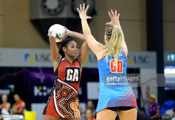 Maria Lutua of the Storm looks to pass during the round seven Australian Netball League match between the Storm and the Waratahs at University of the...
