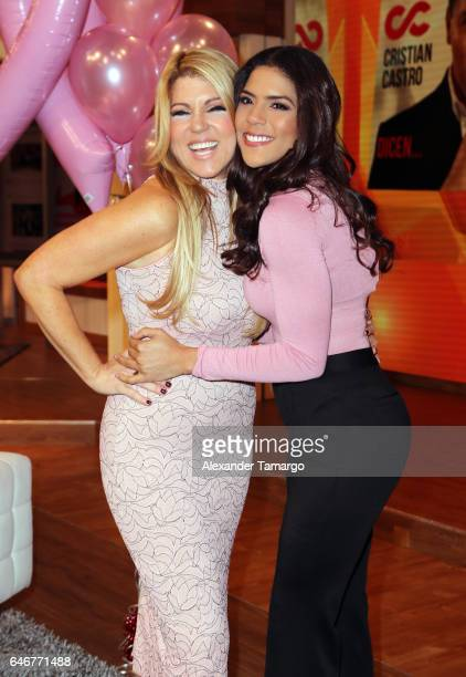 Maria Marin and Francisca Lachapel are seen on the set of 'Despierta America' at Univision Studios on March 1 2017 in Miami Florida