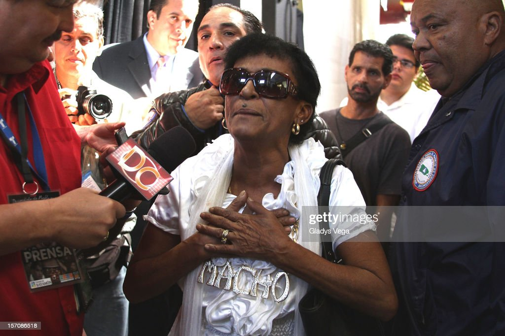 Maria Matias, Camacho's mother, talks to media in the Hector 'Macho' Camacho public memorial service at Department of Sports and Recreation on November 28, 2012 in San Juan, Puerto Rico. Camacho died after being removed from life support following a November 20, 2012 shooting in Bayamon, Puerto Rico.