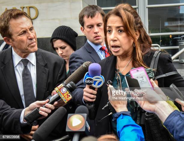 Maria Mena attorney for one of the accused students talks to the press as she departs the courthouse on May 2017 in Rockville MD