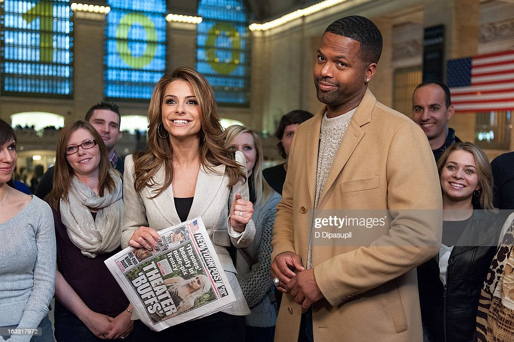 Maria Menounos (L) and AJ Calloway visit 'Extra' at Michael Jordan's The Steak House N.Y.C. in Grand Central Terminal on March 7, 2013 in New York City.
