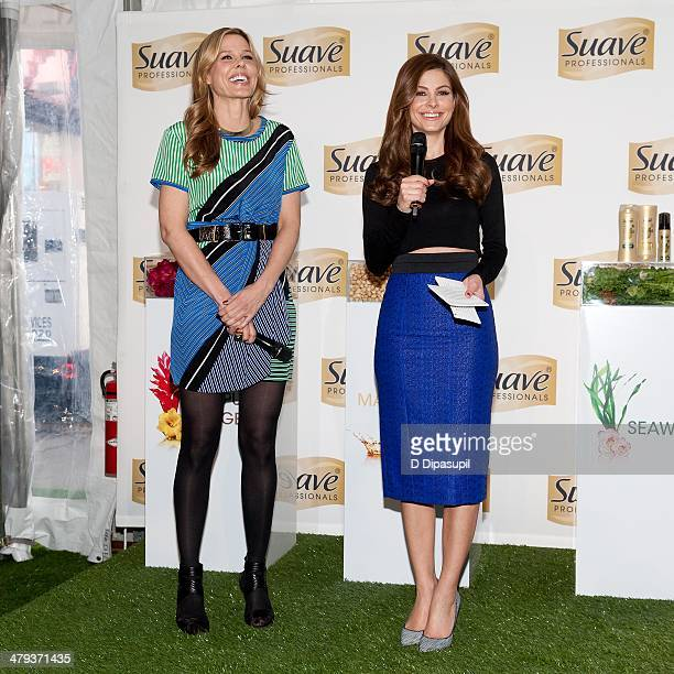 Maria Menounos and Mary Alice Stephenson attend the Suave Professionals Natural Infusion Collection Launch in Times Square on March 18 2014 in New...