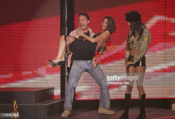 Maria Menounos and Michel Ancel during 2005 Spike TV Video Game Awards Show at Gibson Amphitheater in Universal City California United States