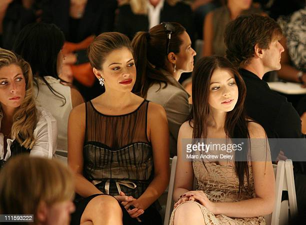 Maria Menounos and Michelle Trachtenberg during Olympus Fashion Week Spring 2007 Luca Luca Front Row and Backstage at The Promenade at Bryant Park in...