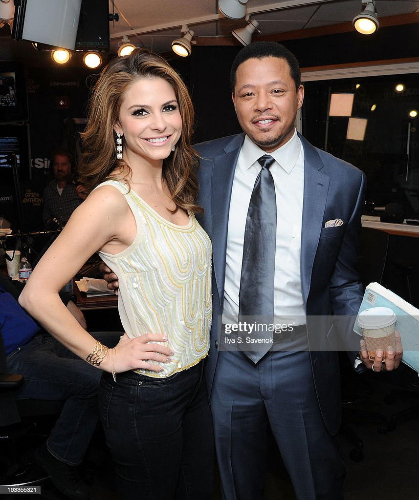 Maria Menounos and Terrence Howard visit the 'The Opie & Anthony Show' at SiriusXM Studios on March 8, 2013 in New York City.