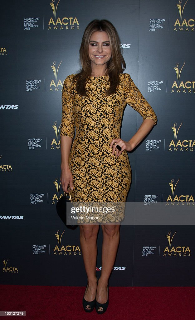 <a gi-track='captionPersonalityLinkClicked' href=/galleries/search?phrase=Maria+Menounos&family=editorial&specificpeople=203337 ng-click='$event.stopPropagation()'>Maria Menounos</a> arrives at Australian Academy Of Cinema And Television Arts' 2nd AACTA International Awards at Soho House on January 26, 2013 in West Hollywood, California.