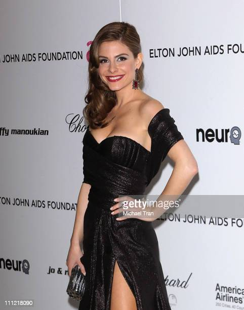 Maria Menounos arrives to the 18th Annual Elton John AIDS Foundation Academy Awards Viewing Party held at Pacific Design Center on March 7 2010 in...