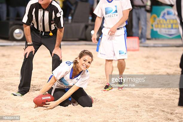 Maria Menounos attends DIRECTV'S Seventh Annual Celebrity Beach Bowl at DTV SuperFan Stadium at Mardi Gras World on February 2 2013 in New Orleans...