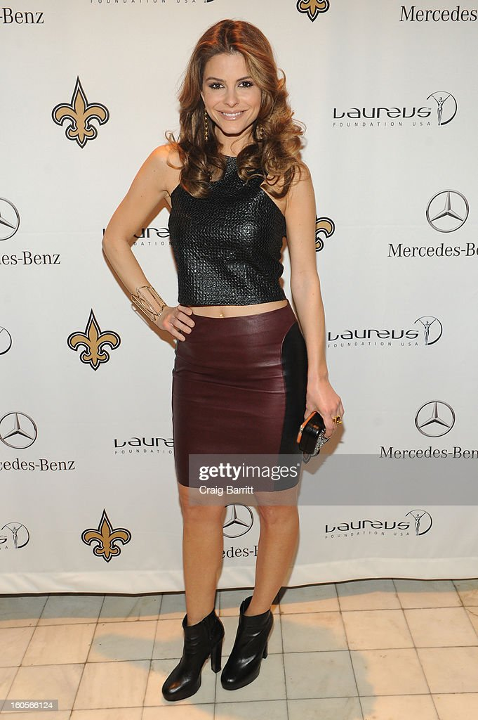 <a gi-track='captionPersonalityLinkClicked' href=/galleries/search?phrase=Maria+Menounos&family=editorial&specificpeople=203337 ng-click='$event.stopPropagation()'>Maria Menounos</a> attends the Mercedes-Benz Laureus Event at The Wedding Cake House on February 2, 2013 in New Orleans, Louisiana.