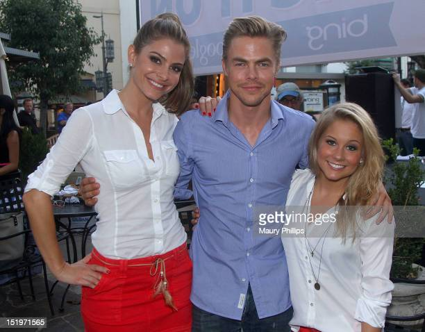 Maria Menounos Derek Hough and Shawn Johnson participate at 'Join Bing To Kick Off Bing It On' Challenge at The Grove on September 13 2012 in Los...