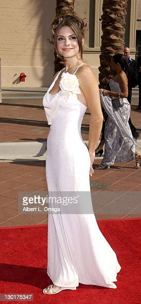 Maria Menounos during 2002 Creative Arts Emmy Awards Arrivals at Shrine Auditorium in Los Angeles California United States