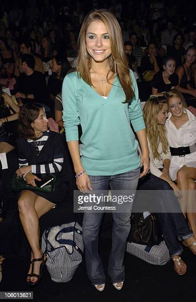 Maria Menounos during Olympus Fashion Week Spring 2007 Lacoste Front Row and Backstage at The Tent Bryant Park in New York City New York United States