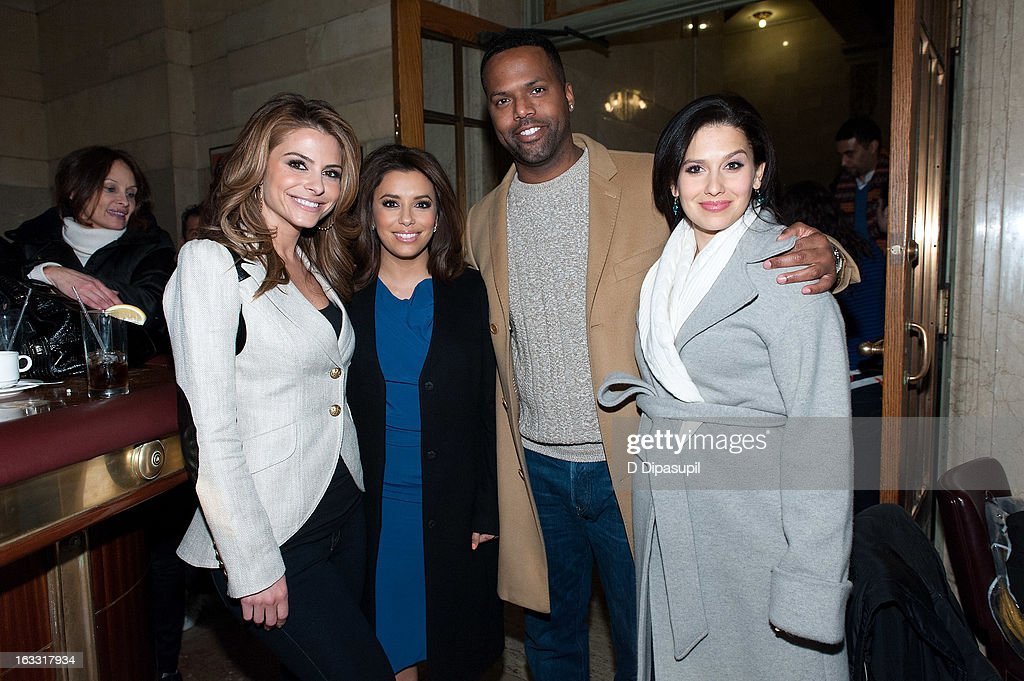 Maria Menounos, Eva Longoria, AJ Calloway, and Hilaria Baldwin visit 'Extra' at Michael Jordan's The Steak House N.Y.C. in Grand Central Terminal on March 7, 2013 in New York City.