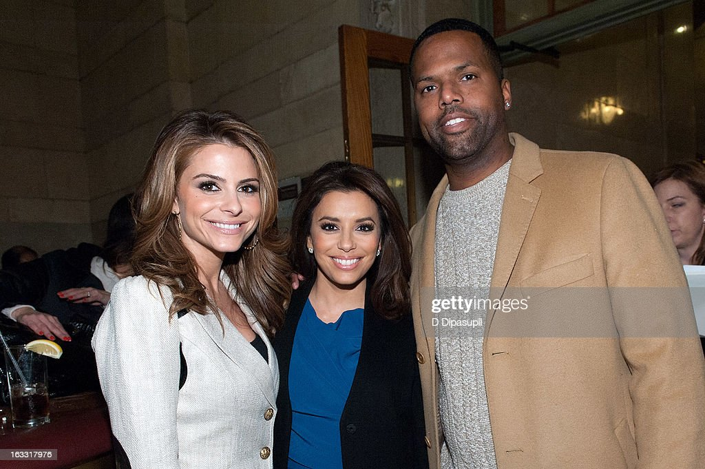 <a gi-track='captionPersonalityLinkClicked' href=/galleries/search?phrase=Maria+Menounos&family=editorial&specificpeople=203337 ng-click='$event.stopPropagation()'>Maria Menounos</a>, <a gi-track='captionPersonalityLinkClicked' href=/galleries/search?phrase=Eva+Longoria&family=editorial&specificpeople=202082 ng-click='$event.stopPropagation()'>Eva Longoria</a>, and AJ Calloway visit 'Extra' at Michael Jordan's The Steak House N.Y.C. in Grand Central Terminal on March 7, 2013 in New York City.