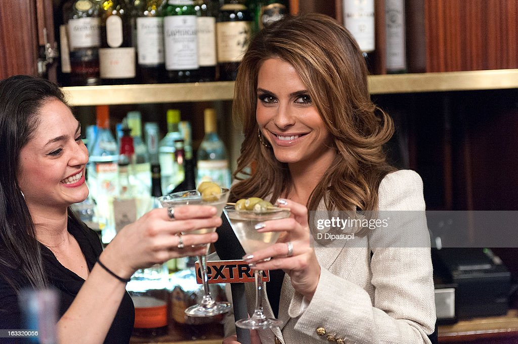 Maria Menounos (R) hosts 'Extra' at Michael Jordan's The Steak House N.Y.C. in Grand Central Terminal on March 7, 2013 in New York City.