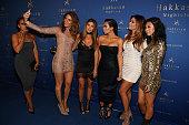 Maria Menounos Larsa Pippen Kim Kardashian West Carla DiBello and Tracy Romulus take a selfie as they arrive at Hakkasan Las Vegas Nightclub inside...