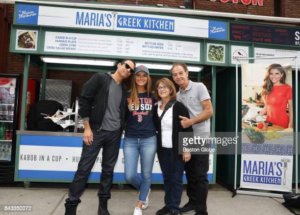 Maria Menounos poses with from left her fiancé Keven Undergaro and her parents Litsa and Costas Menounos in front of the new Maria's Green Kitchen at...