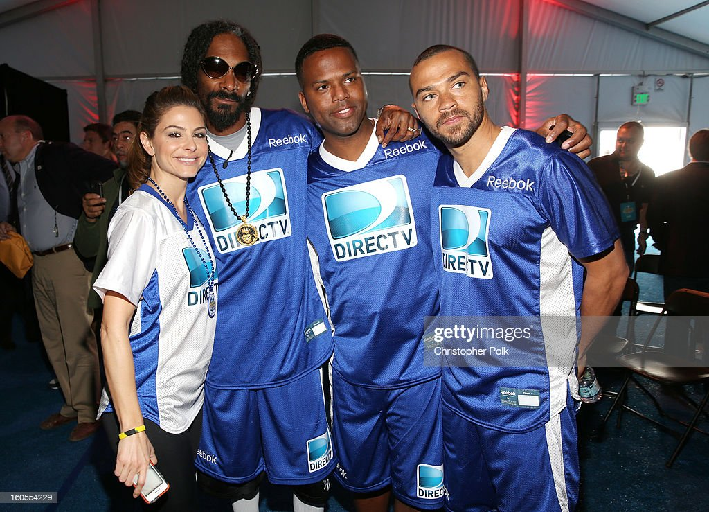 Maria Menounos, Snoop Dogg, A.J. Calloway, and Jesse Williams attend DIRECTV'S Seventh Annual Celebrity Beach Bowl at DTV SuperFan Stadium at Mardi Gras World on February 2, 2013 in New Orleans, Louisiana.