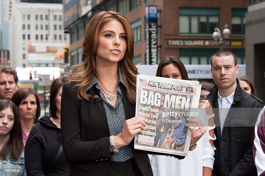 <a gi-track='captionPersonalityLinkClicked' href=/galleries/search?phrase=Maria+Menounos&family=editorial&specificpeople=203337 ng-click='$event.stopPropagation()'>Maria Menounos</a> visits 'Extra' in Times Square on April 18, 2013 in New York City.