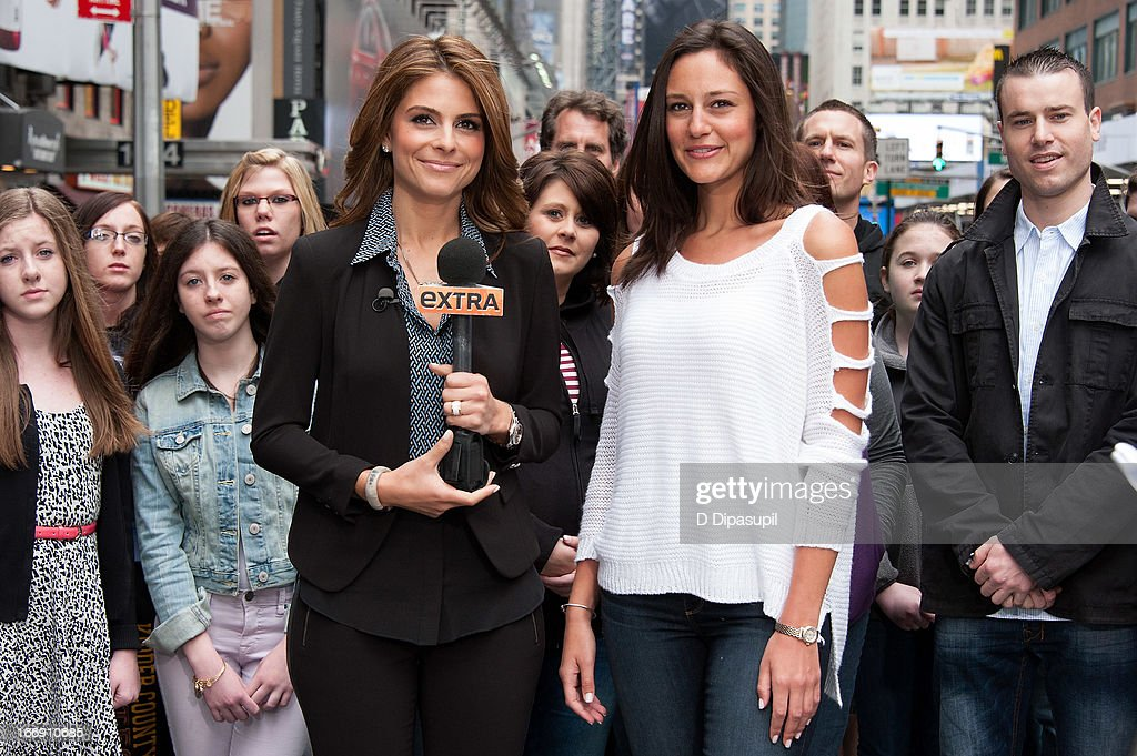 <a gi-track='captionPersonalityLinkClicked' href=/galleries/search?phrase=Maria+Menounos&family=editorial&specificpeople=203337 ng-click='$event.stopPropagation()'>Maria Menounos</a> (L) visits 'Extra' in Times Square on April 18, 2013 in New York City.