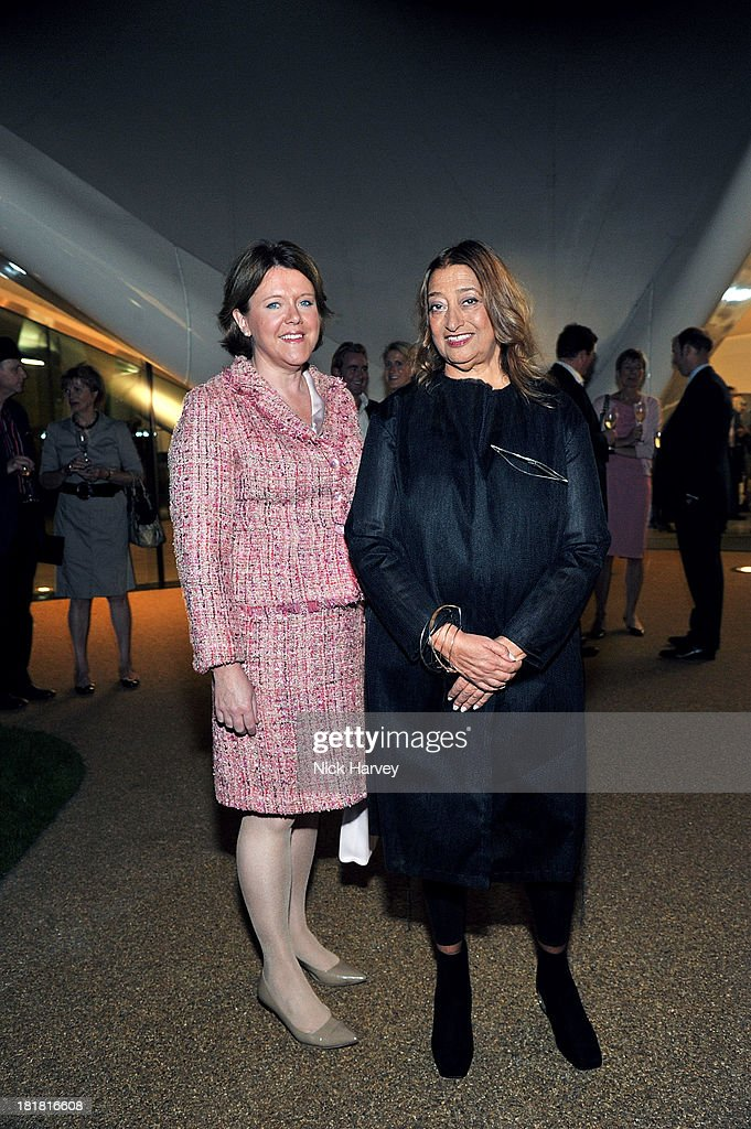 Maria Miller and <a gi-track='captionPersonalityLinkClicked' href=/galleries/search?phrase=Zaha+Hadid&family=editorial&specificpeople=560782 ng-click='$event.stopPropagation()'>Zaha Hadid</a> attends the VIP opening of The Serpentine Sackler Gallery & Autumn Exhibitions at The Serpentine Sackler Gallery on September 25, 2013 in London, England.