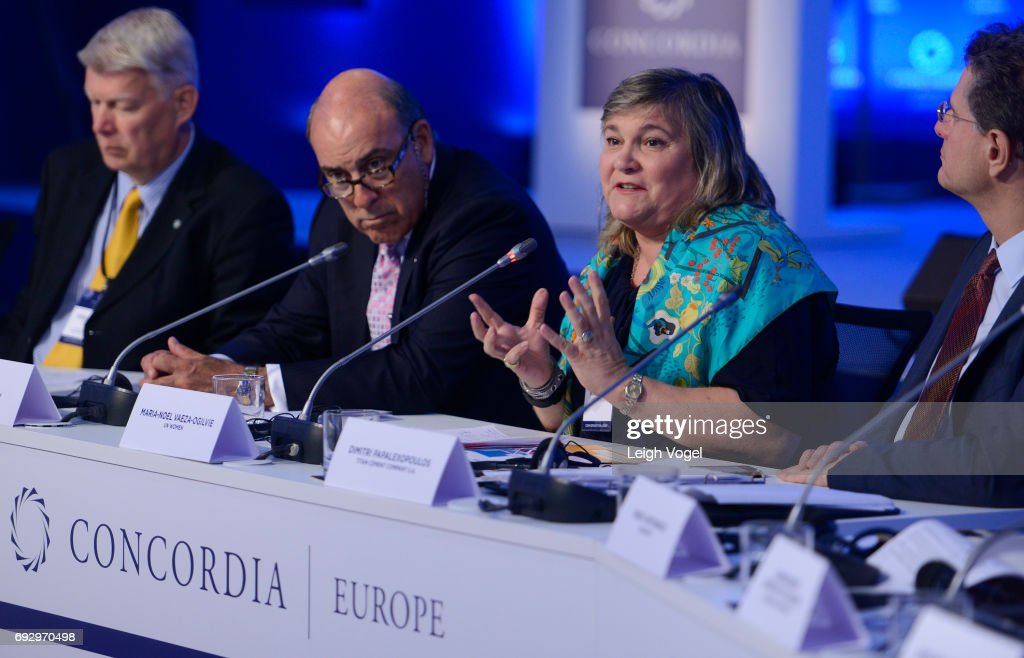 Maria Noel Vaeza, Director of Programme, DIVISION, participates in a discussion during the Concordia Europe Summit on June 6, 2017 in Athens, Greece.