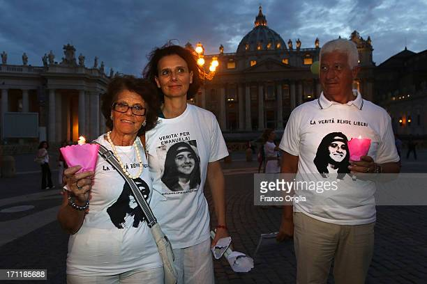 Maria Orlandi mother of Emanuela Orlandi and others gather in St Peter's Square to mark the 30th anniversary of the disappearance of Emanuela Orlandi...