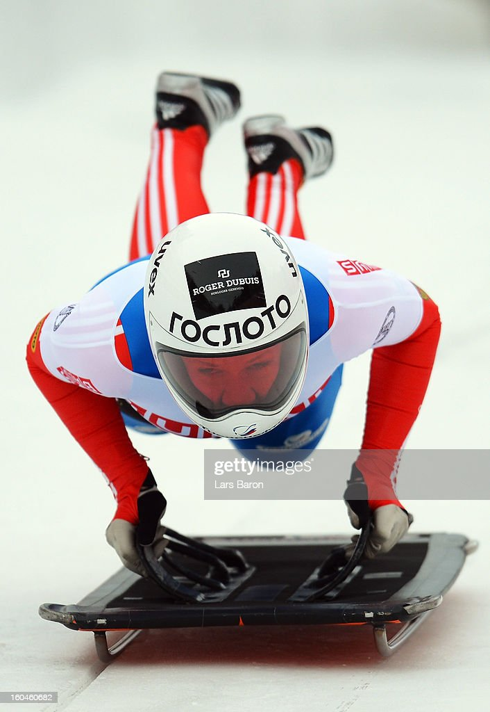 Maria Orlova of Russia competes in the women's skeleton third heat of the IBSF Bob & Skeleton World Championship at Olympia Bob Run on February 1, 2013 in St Moritz, Switzerland.