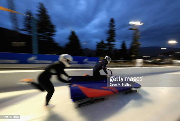 Maria Oshigiri and Arisa Kimishima of Japan take a training run in the Women's Bobsled during the BMW IBSF Bobsleigh and Skeleton World Cup at Utah...