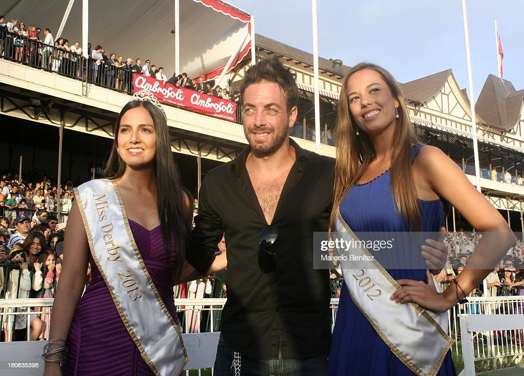 Maria Paz Alemparte (L), <a gi-track='captionPersonalityLinkClicked' href=/galleries/search?phrase=Nicolas+Massu&family=editorial&specificpeople=162781 ng-click='$event.stopPropagation()'>Nicolas Massu</a> (C), and Nicole Reynoso (R) pose for during the Derby 2013 on February 03 in Viña del Mar, Chile.