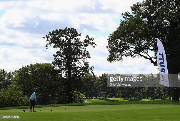 Maria Perkins putts in the girls 1213 division during the 2015 Drive Chip and Putt Tournament at Medinah Country Club on September 19 2015 in Medinah...