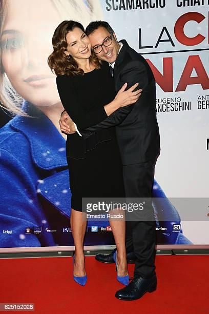 Maria Pia Calzone and Luca Bianchini walk a red carpet for 'La Cena Di Natale' at Cinema Adriano on November 22 2016 in Rome Italy