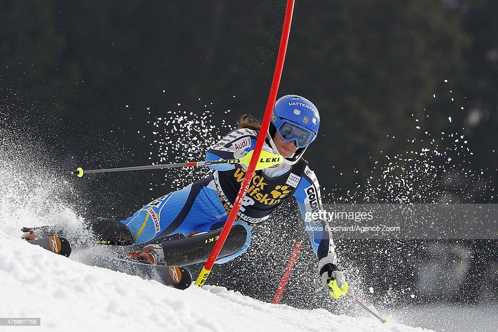 Maria Pietilae-Holmner of Sweden competes during the Audi FIS Alpine Ski World Cup Finals Women's Slalom on March 15, 2014 in Lenzerheide, Switzerland.