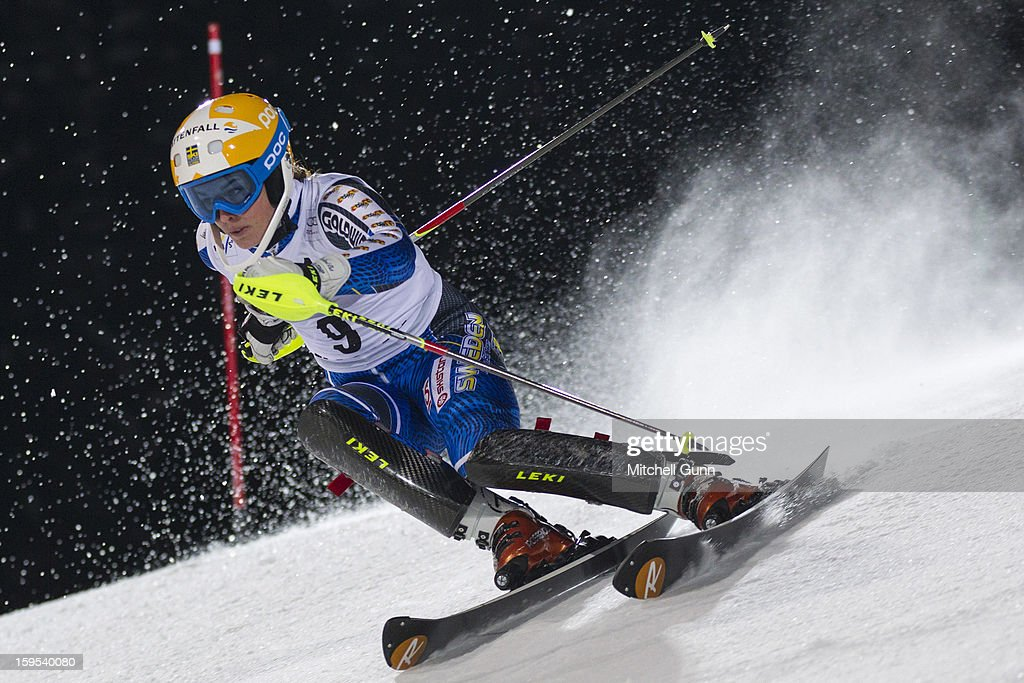 Maria Pietilae-Holmner of Sweden races down the course whilst competing in the Audi FIS Alpine Ski World Cup Slalom race on January 15, 2013 in Flachau, Austria.