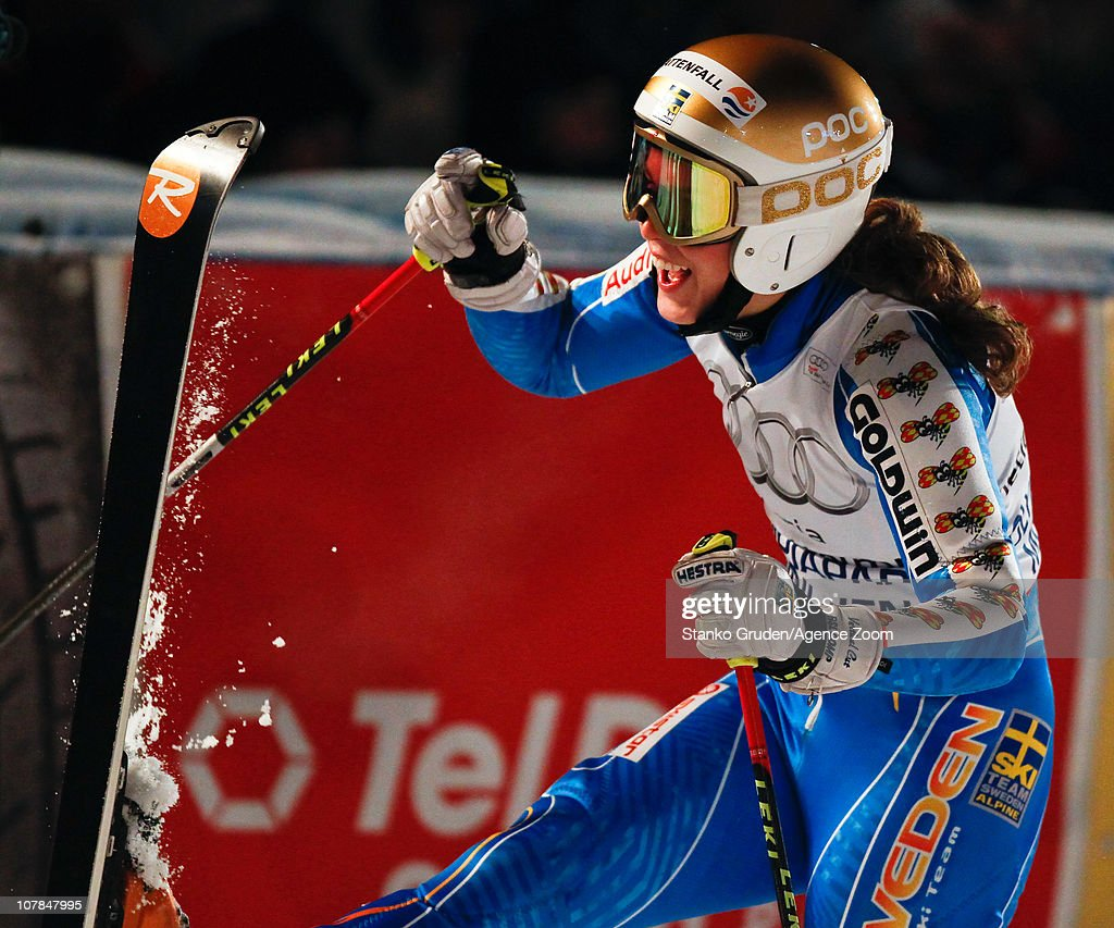 Maria Pietilae-Holmner of Sweden takes 1st place during the Audi FIS Alpine Ski World Cup Men's and Women's Parallel Slalom on January 2, 2011 in Munich, Germany.