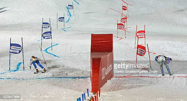 Maria PietilaeHolmner of Sweden takes 1st place Tina Maze of Slovenia takes 2nd place during the Audi FIS Alpine Ski World Cup Men's and Women's...