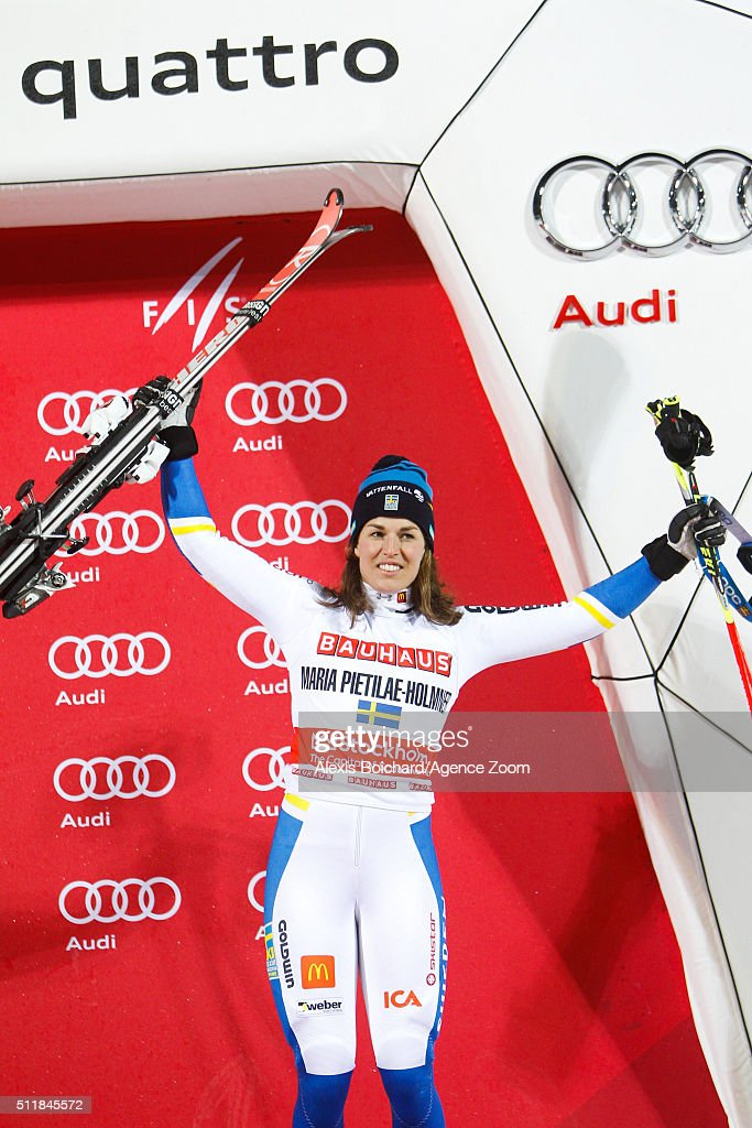 Maria Pietilae-Holmner of Sweden takes 3rd place during the Audi FIS Alpine Ski World Cup Men's and Women's City Event on February 23, 2016 in Stockholm, Sweden.
