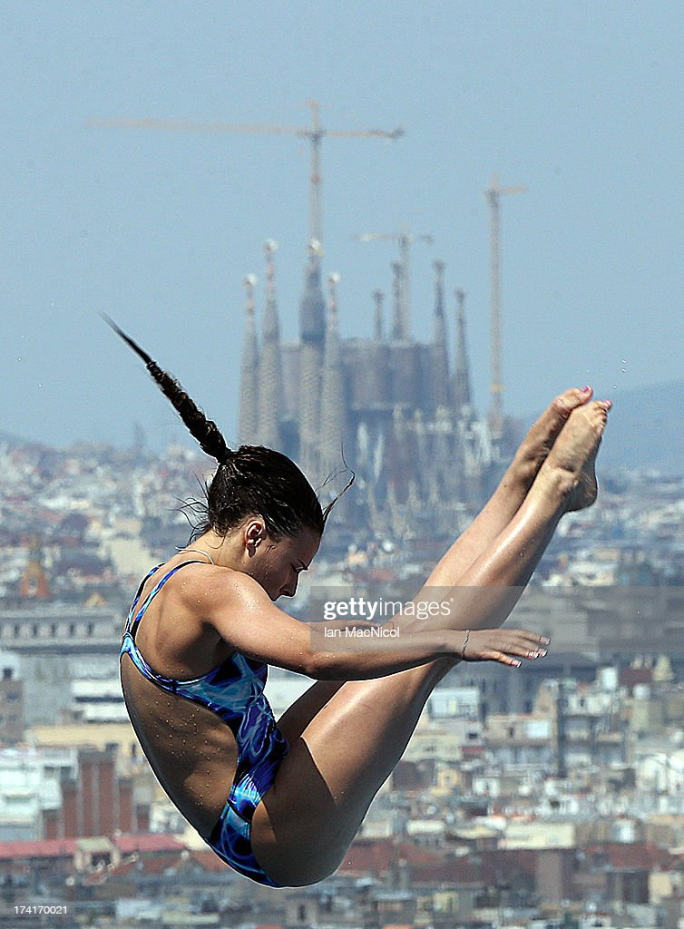 Maria Polyakova of Russia competes in the preliminary round of The Women's 1m Springboard at The Piscina Municipal De Montjuic on day two of the 15th FINA World Championships at Moll de la Fusta on July 21, 2013 in Barcelona, Spain.