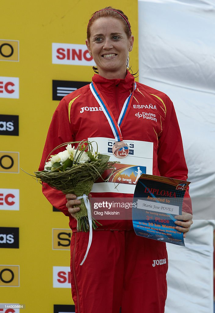 Maria Poves of Spain poses for photo during awarding in the competition of women's 20 km IAAF World Race Walking Cup 2012 on May 13, 2012 in Saransk, Russia.