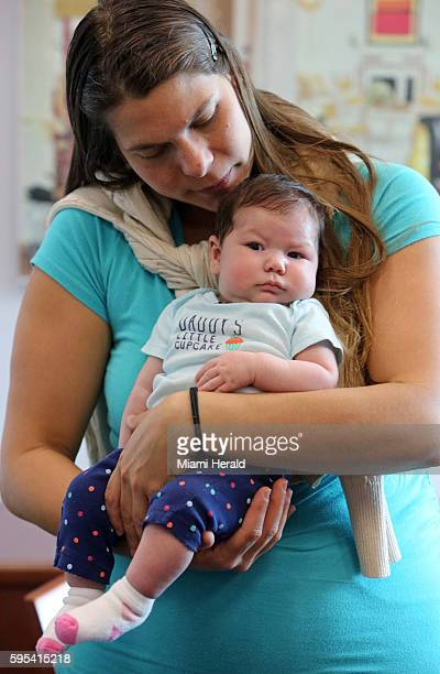 Maria Ramirez Bolivar a Venezuelan woman who lives in Doral but contracted Zika in her first trimester while traveling in Venezuela holds her baby...