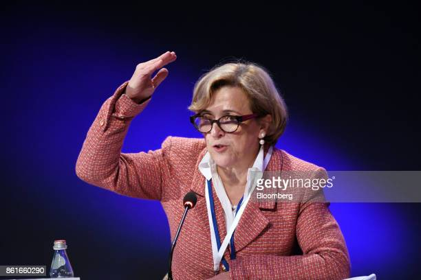 Maria Ramos chief executive officer of Barclays Africa Group Ltd speaks during the Group of Thirty International Banking Seminar in Washington DC US...