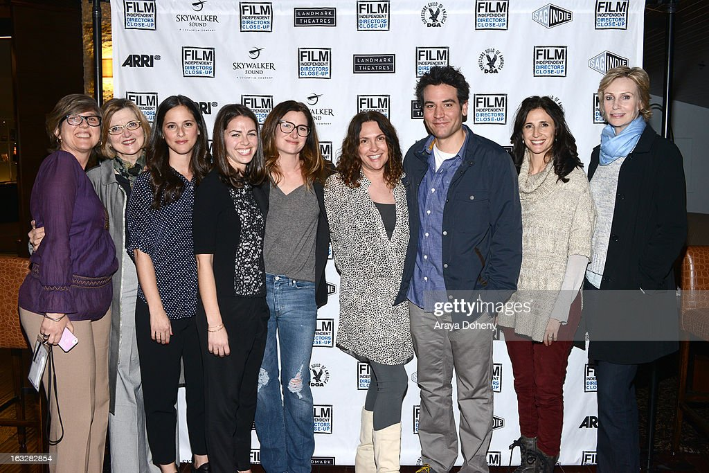 Maria Raquel Bozzi, Robin Swicord, Courtney Bright, Nicole Daniels, Kathryn Hahn, Jill Soloway, Josh Radnor, Michaela Watkins and Jane Lynch attend the Film Independent Directors Close-Up 2013 - The Actors: Getting Great Performances at Landmark Nuart Theatre on March 6, 2013 in Los Angeles, California.