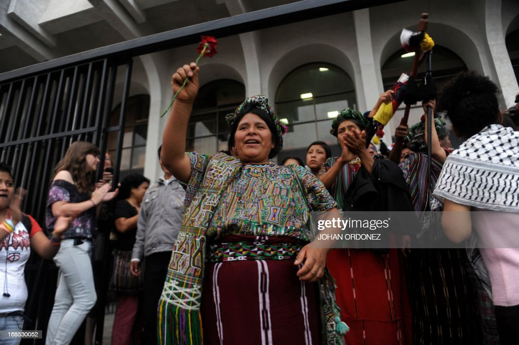 Maria Raymundo a survivor of Guatemala's civil war celebrates after listening the sentence given to former Guatemalan de facto President retired...