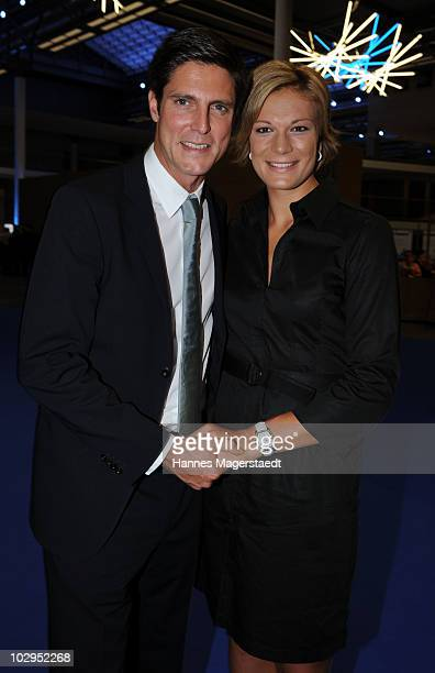 Maria Riesch and Marcus Hoefl attend the Bavarian Sport Award 2010 at the International Congress Center Munich on July 17 2010 in Munich Germany
