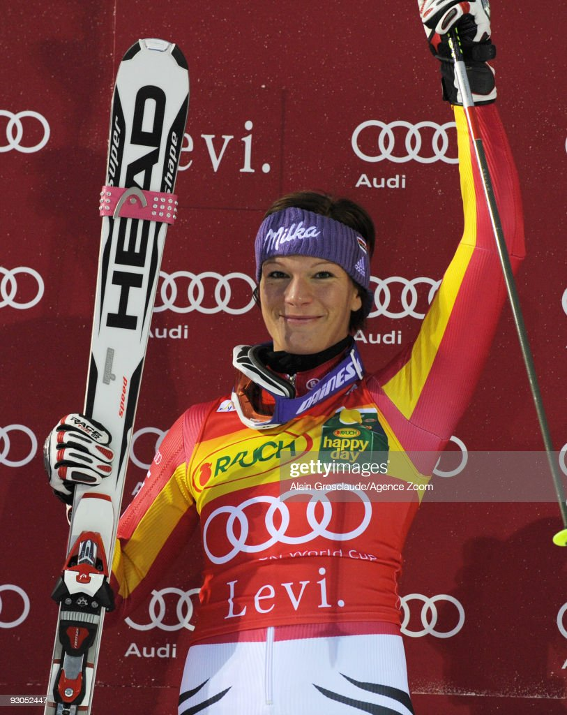 Maria Riesch of Germany takes 1st place during the Alpine FIS Ski World Cup Women's Slalom on November 14 2009 in Levi Finland