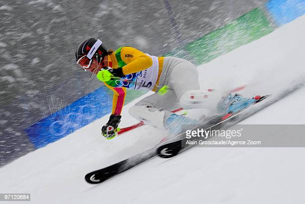 Maria Riesch of Germany takes the Gold Medal during the Women's Alpine Skiing Slalom on Day 15 of the 2010 Vancouver Winter Olympic Games on February...